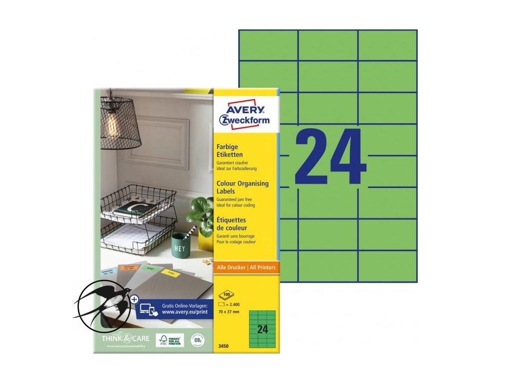 Etikety farebné 70x37mm Avery A4 100 hárkov zelené