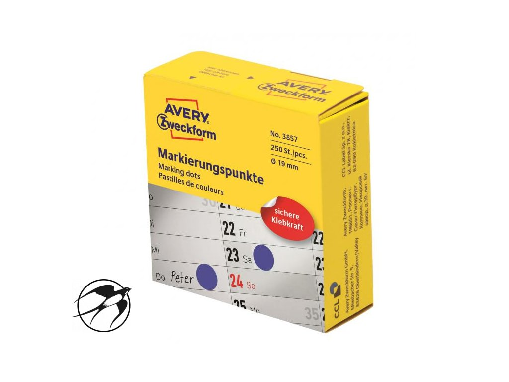 Etikety kruhové 19mm Avery modré v dispenzore