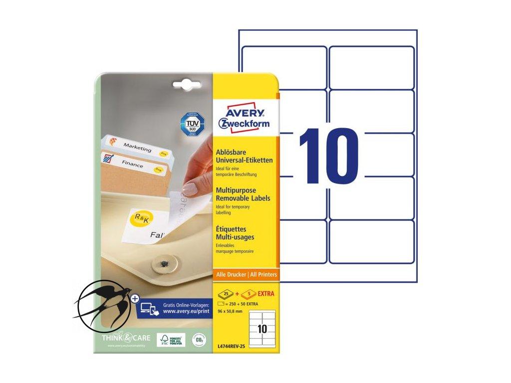 Etikety univerzálne odnímateľné 96x50,8mm Avery A4 25+5 hárkov