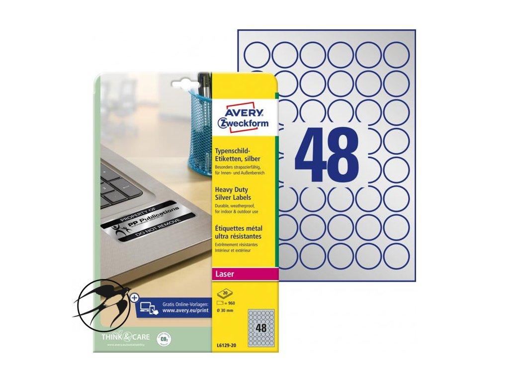 Etikety polyesterové kruhové priemer 30mm Avery A4 strieborné 20 hárkov
