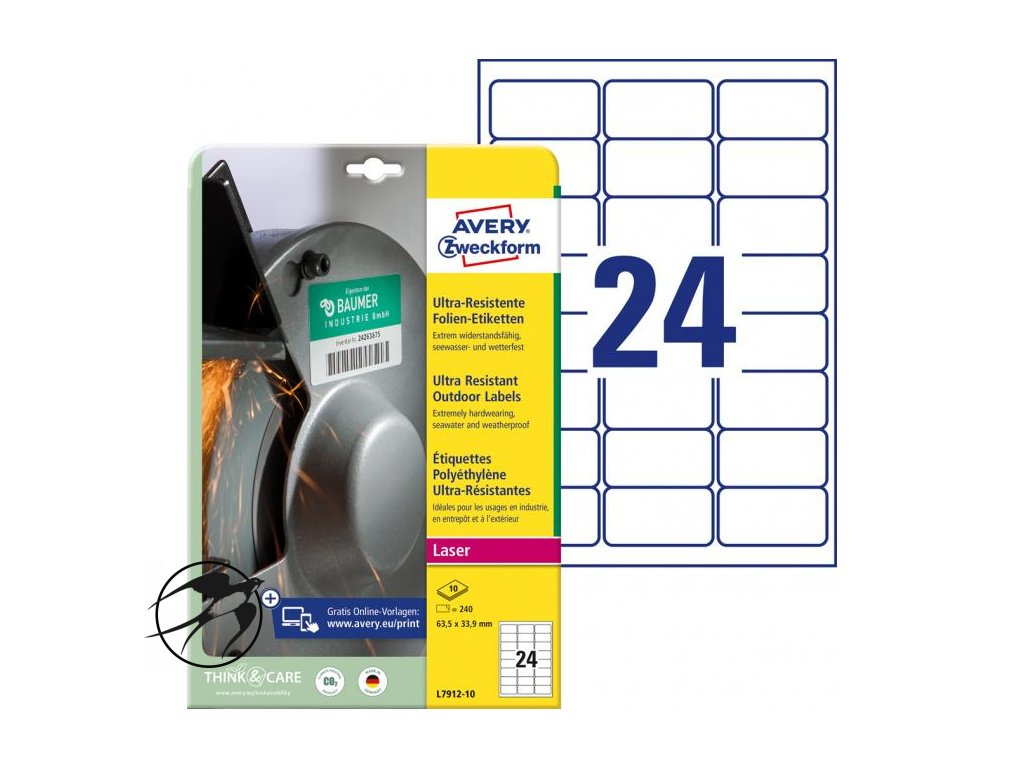Etikety Avery 63,5x33,9 mm, ultra odolné biele