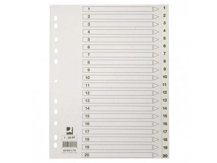 Plastový rozraďovač Q-Connect 12-dielny maxi sivý