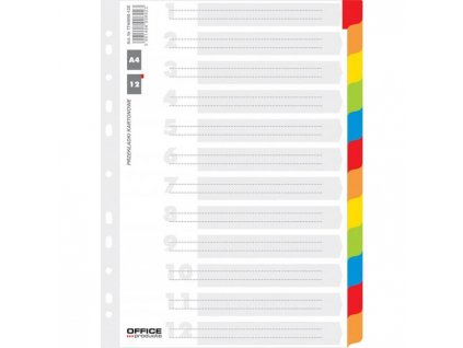 Kartónový rozraďovač Office Products 12-dielny biely