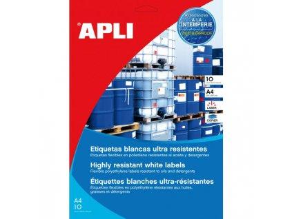 Etikety polyetylénové vysoko odolné 210x297 APLI 10 hárkov biele
