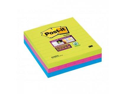 Bločky Post-it linajkové 101x101mm modré, zelené, ružové