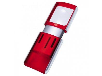 Lupa 3,5x3,8cm s podsvietením červená