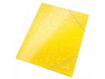 Kartónový obal lesklý s gumičkou Leitz WOW žltý