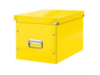 Štvorcová škatuľa Click & Store A4 žltá