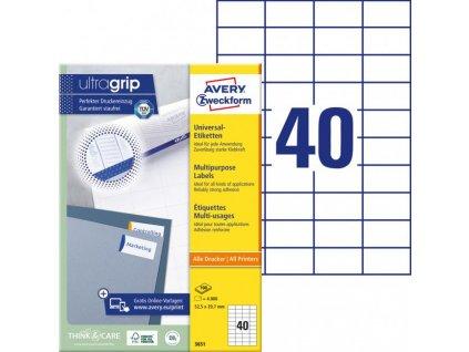 Etikety univerzálne 52,5x29,7mm Avery A4 100 hárkov