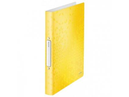 Zakladač 2-krúžkový Leitz WOW celoplastový 4cm žltý