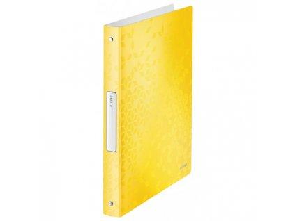 Zakladač 4-krúžkový Leitz WOW celoplastový 2,57cm žltý