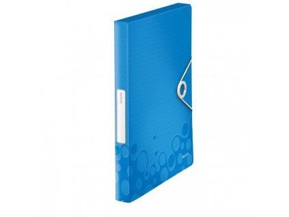 Plastový box s gumičkou Leitz WOW metalický modrý