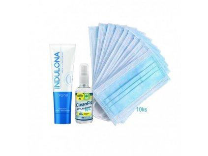 Balíček (10ks rúška+ Indulona originál 85ml + Cleanfit gél 50ml)