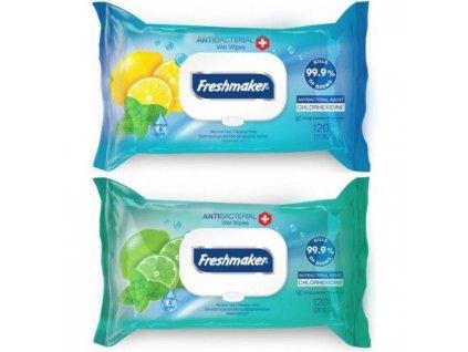 Antibakteriálne vlhčené utierky Freshmaker citrón/mentol 120ks