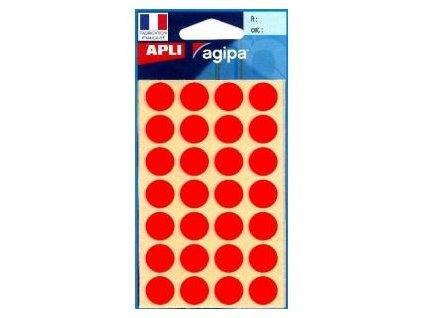 Etikety kruhové 15mm APLI červené