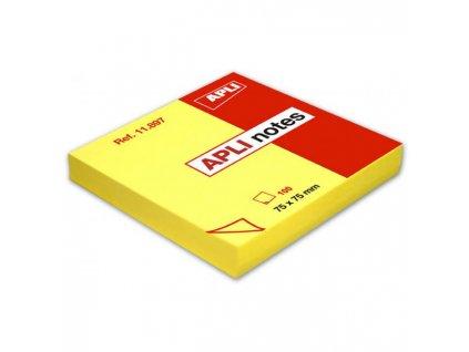 Bloček samolepiaci jasnožltý 75x75mm 100 lístkov APLI notes