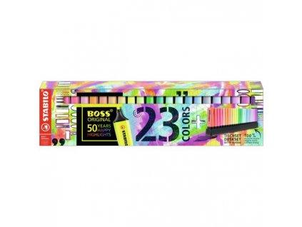 Sada zvýrazňovačov STABILO BOSS ORIGINAL 23 ks Stolný set 9 neónových a 14 pastelových farieb