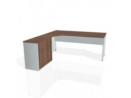 Pracovný stôl Gate, ergo, pravý, 180x75,5x200 cm, orech/sivá