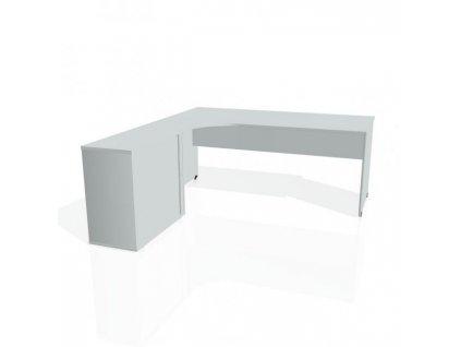 Pracovný stôl Gate, ergo, pravý, 180x75,5x200 cm, sivá/sivá