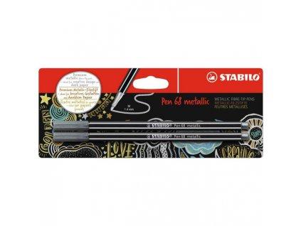 Popisovač STABILO Pen 68 2ks v blistri metalic strieborná
