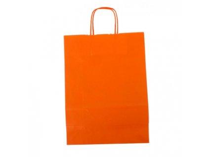 Papierová taška, stáčané ušká, 260x120x350mm, oranžová