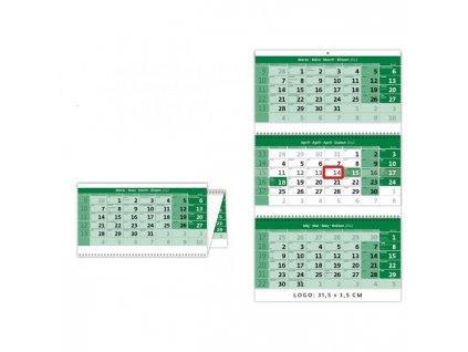 Nástenný kalendár trojmesačný zelený so špirálou 2022