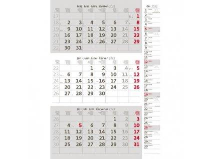 Trojmesačný kalendár sivý s poznámkami 2022
