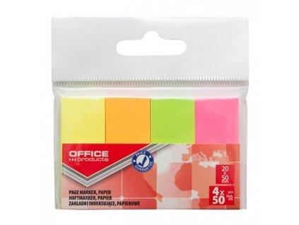 Samolepiace záložky Office Products 20x50mm neon 4x50 lístkov