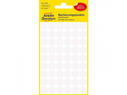 Etikety kruhové 12mm Avery biele