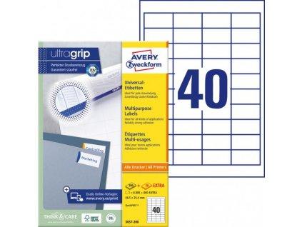 Etikety univerzálne 48,5x25,4mm Avery A4 100 hárkov