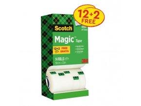 Lepiaca páska Scotch Magic neviditeľná popisovateľná 19mmx33m v krabičke 12+2 zdarma