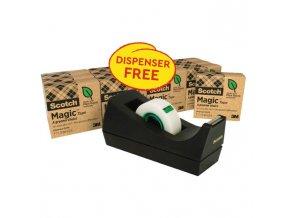 Lepiaca páska Scotch Magic neviditeľná popisovateľná 900 14ks + dispenzor zdarma