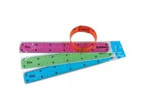 Pravítko 30 cm ohybné mix farieb modrá, oranžové, zelené, ružové
