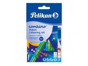 Set farbičky Pelikan Combino 12ks a maliarsky blok Combino so zvieracími motívmi