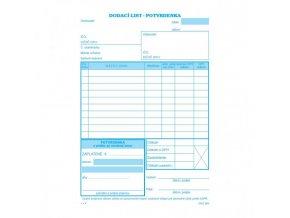Dodací list A5 s DPH s potvrdenkou samoprepis