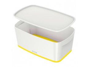 Úložný box s vekom Leitz MyBox, veľkosť S biela/žltá