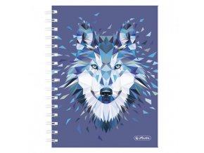 Blok poznámkový štvorčekový Herlitz Wild Animals A5 100 listov vlk