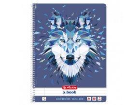 Blok poznámkový College Herlitz Wild Animals A4 80 listov linajkový vlk