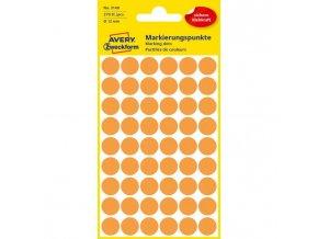 Etikety kruhové 12mm Avery neónovo oranžové