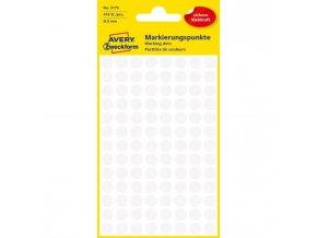 Etikety kruhové 8mm Avery biele