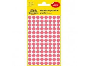 Etikety kruhové 8mm Avery neónovo červené