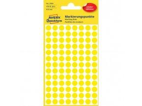 Etikety kruhové 8mm Avery odnímateľné žlté