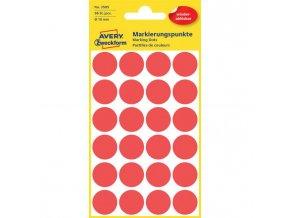 Etikety kruhové 18mm Avery odnímateľné červené