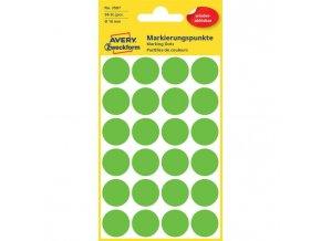 Etikety kruhové 18mm Avery odnímateľné zelené