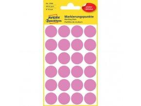 Etikety kruhové 18mm Avery odnímateľné ružové