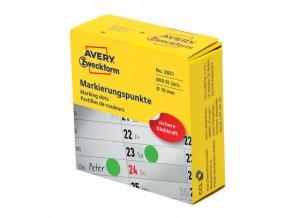 Etikety kruhové 10mm Avery zelené v dispenzore