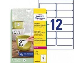 Etikety polyesterové 99,1x42,3mm Avery A4 biele odnímateľné 20 hárkov