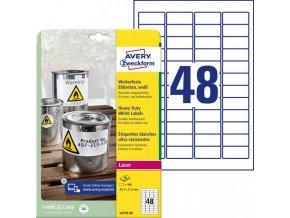 Etikety polyesterové 45,7x21,2mm Avery A4 biele 20 hárkov