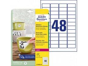 Etikety polyesterové 45,7x21,2mm Avery A4 biele odnímateľné 20 hárkov