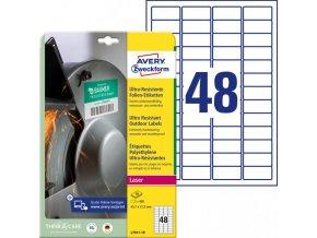 Etikety Avery 45,7 x 21,2 mm, ultra odolné biele